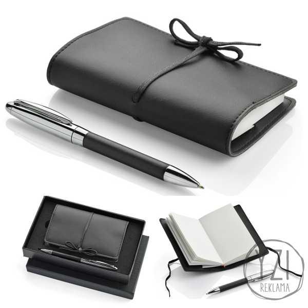 RINKINYS BIANCA. Rinkinuką sudaro  dėžutė (traukta eko oda), rašiklis dekoruotas eko oda ir užrašų knygutė (balti psl)