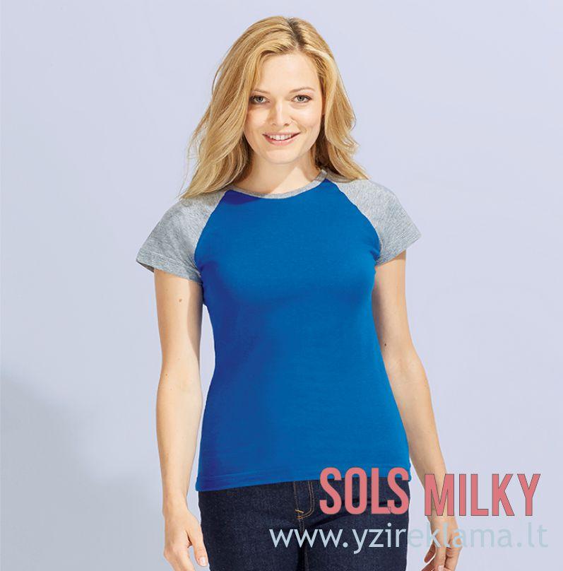 Dviejų spalvų moteriški marškinėliai MILKY